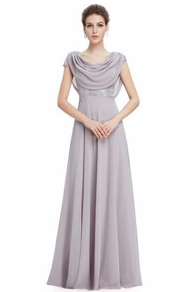 Gray A-Line Chiffon Scoop Neck Short Sleeves Evening Dress | TeresaClare