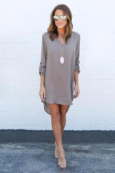 Gray Autumn V-neck Half Sleeve Casual Chiffon Fashion Dress | TeresaClare