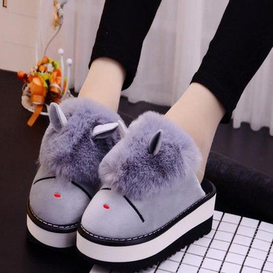 Gray Cartoon Slope With Thick Bottom Cotton Slippers | TeresaClare