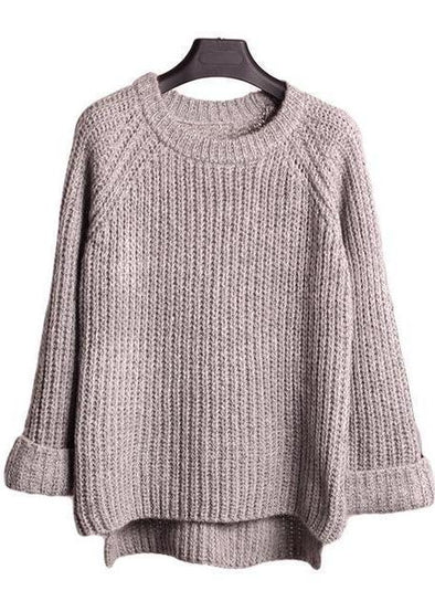 Gray Casual Loose Knitting Patchwork Fashion Pullover Sweater | TeresaClare