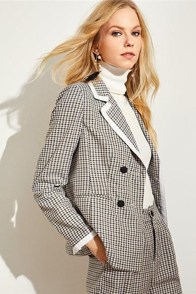 Gray Double Breasted Notched Collar Plaid Blazer | TeresaClare