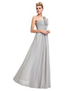 Gray Elegant Empire One Shoulder Prom Dress With Flowers | TeresaClare