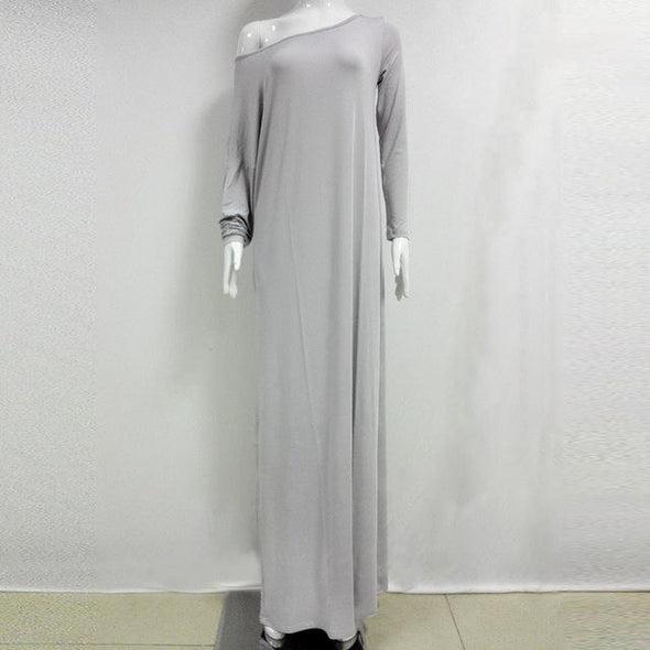 Gray Elegant Party Bat Sleeve Off Shoulder Long Maxi Fashion Dress | TeresaClare