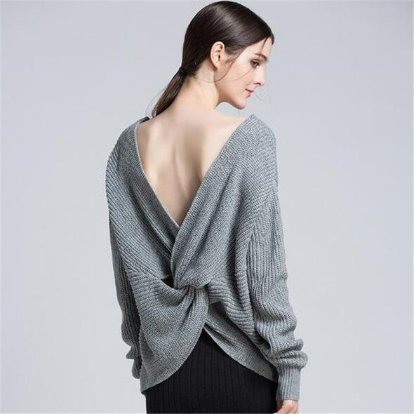 Gray Fashion Backless Knitted Pullovers Female Sweater | TeresaClare
