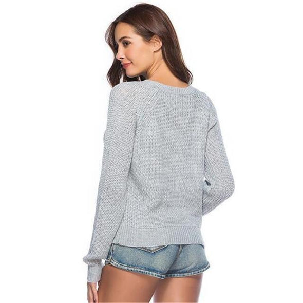 Gray Fashion O-neck Knitted Pullovers Sexy Hollow Out Sweater | TeresaClare