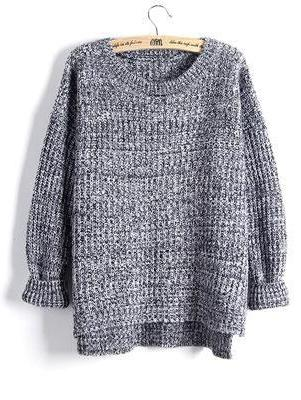 Gray Fashion Split Swallowtail Female Loose Sweater | TeresaClare