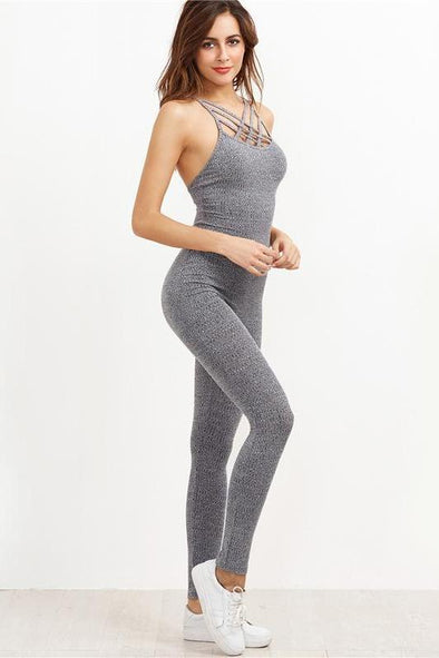 Gray Gray Marled Ribbed Cage Neck Casual Basic Jumpsuit | TeresaClare