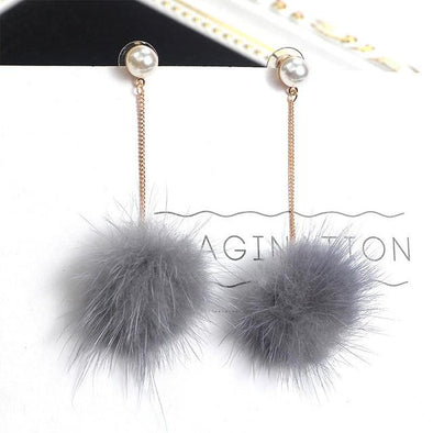 Gray Imitation Pearl Charm Fluffy Pompom Ball Drop Earrings | TeresaClare