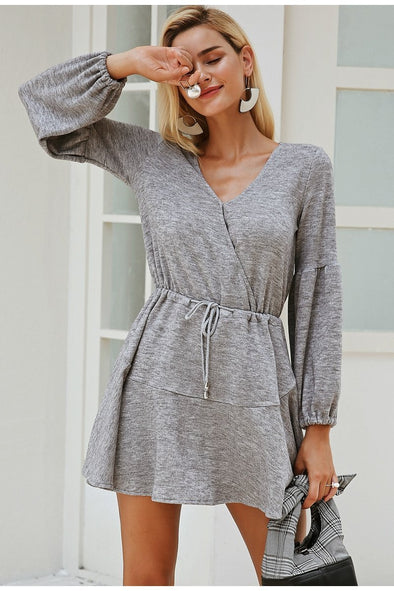 Gray Latern Sleeve Knitted Women Sexy V Neck Dress | TeresaClare