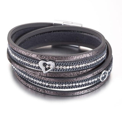 Gray Leather Bracelets For Women Double Layer Rhinestone | TeresaClare