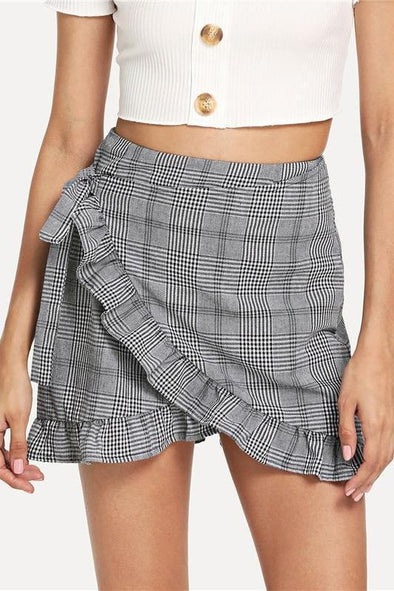 Gray Plaid Ruffle Frill Trim Knot Side Wrap Skirt | TeresaClare