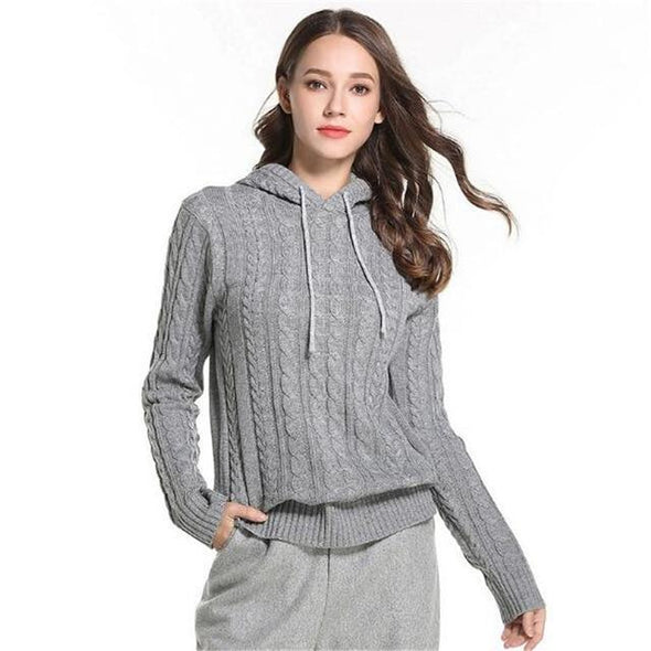 Gray Pullovers For Women Loose Hooded Pullover Sweater | TeresaClare