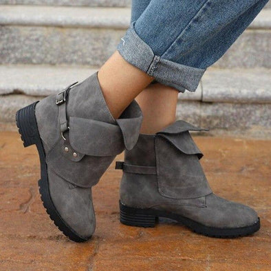 Gray Retro Winter Ankle Suede Knight Boots | TeresaClare