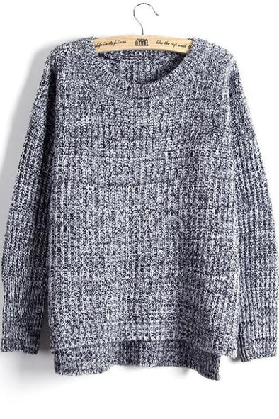 Gray Round Neck Long Sleeved Knitted Sweater For Women | TeresaClare