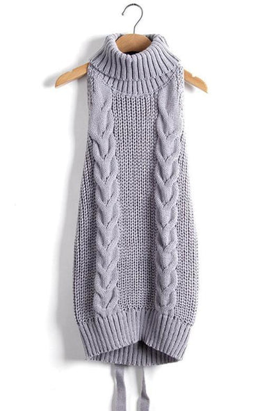 Gray Sexy Backless Knitted Turtleneck Virgin Killer Sweater | TeresaClare