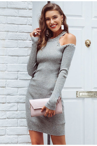 Gray Sexy Off Shoulder Beading Sweater Dress | TeresaClare