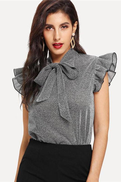 Gray Tied Neck Ruffle Sleeve Summer Casual Blouse | TeresaClare
