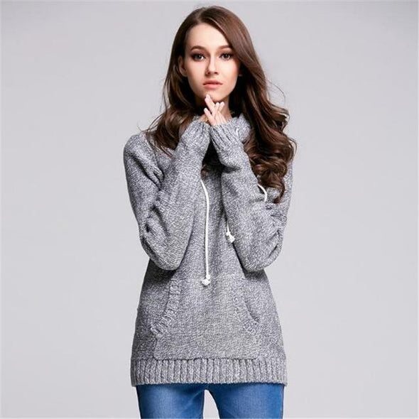 Gray Turtleneck Fashion Knitted Pullover Sweater | TeresaClare