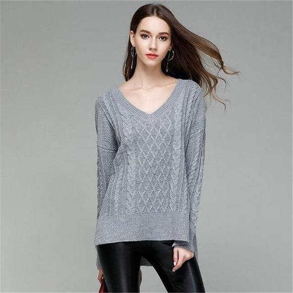 Gray V-neck Split Fashion Knitted Pullovers Irregularity Sweater | TeresaClare