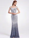 Gray V-Neck Women Elegant Sequin Mermaid Maxi Evening Party Gown Dress | TeresaClare