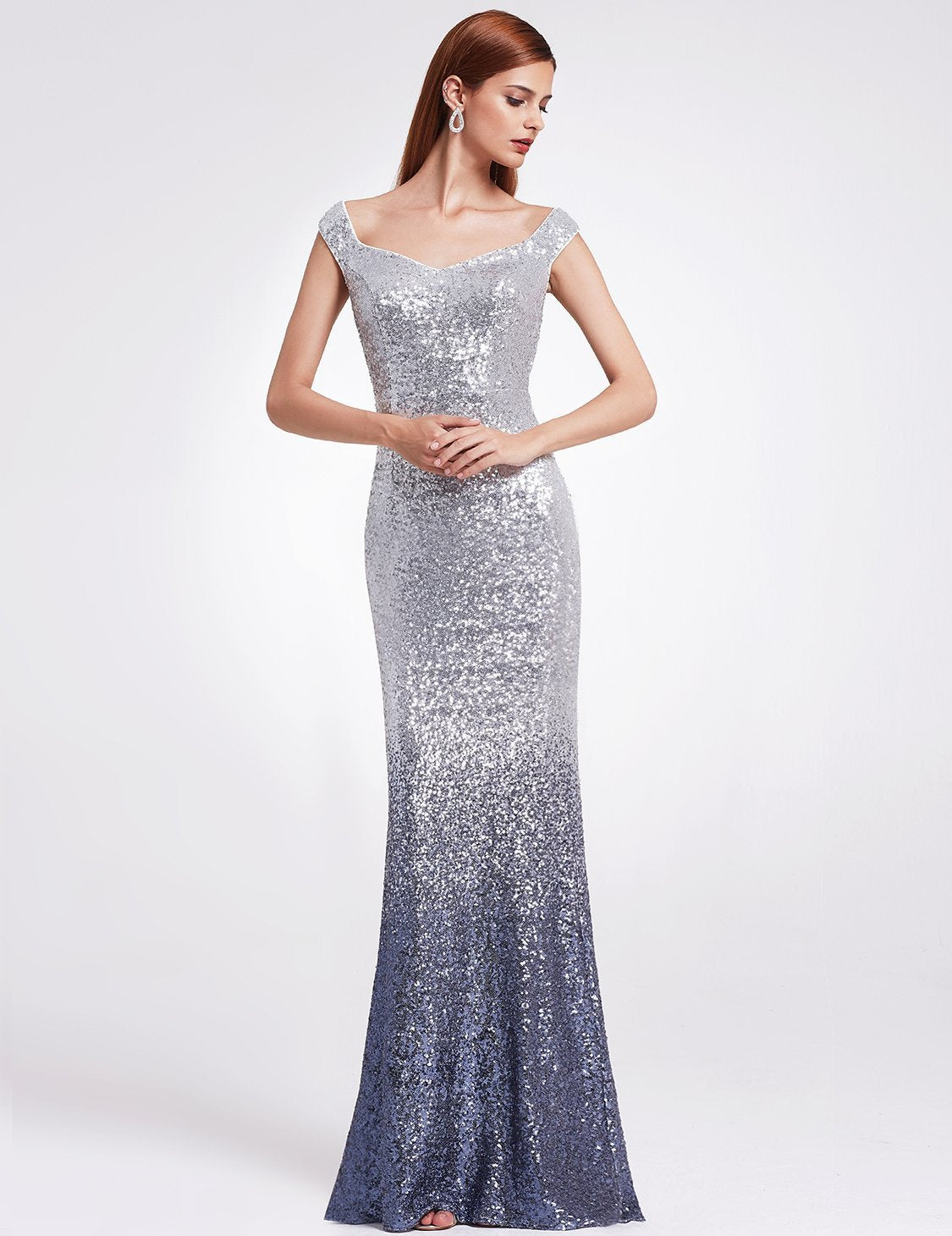 Rosy Oversized Bow Applique Evening Party Gown Wholesale. V-Neck Women  Elegant Sequin Mermaid Maxi Evening Party Gown Dress .