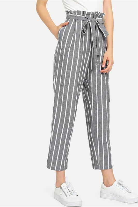Gray Vacation Beach Self Belted Striped Tapered Pants | TeresaClare