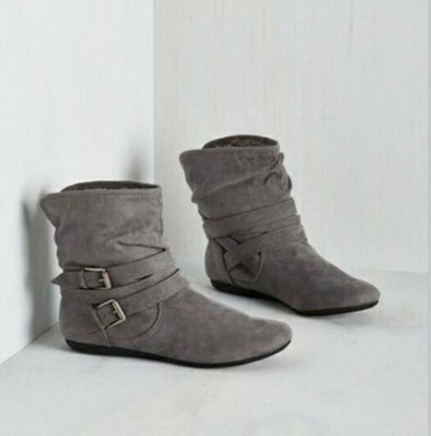 Gray Winter Casual Brand Warm Shoes Buckles Snow Boots | TeresaClare