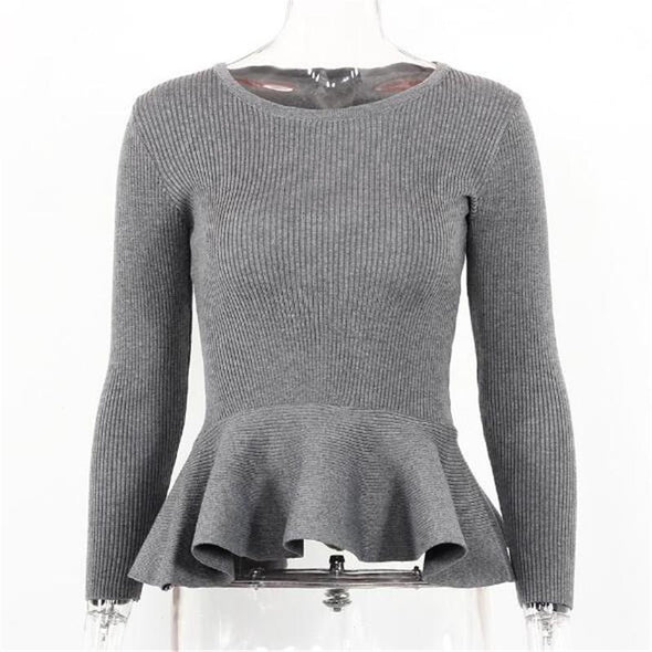 Gray Women's Candy Colors Knitted Pullovers Long Sleeve Sweater | TeresaClare