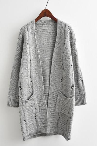 Gray Women's Fashion V-Neck Long Cardigan Knitted Sweater | TeresaClare