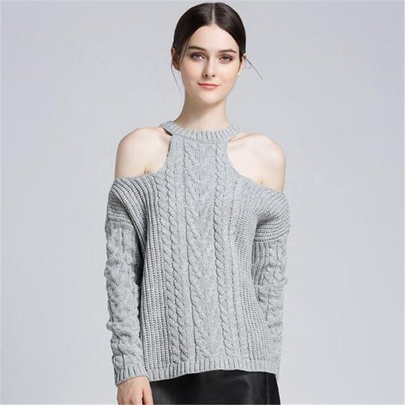 Gray Women's Shoulder Off Sexy O-neck Pullover Sweater | TeresaClare