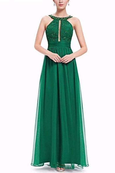 Green A-Line Chiffon Floor-Length Sleeveless Evening Dress With Ruffles | TeresaClare