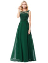 Green Appliques Floor-Length Sleeveless Chiffon Evening Dress | TeresaClare