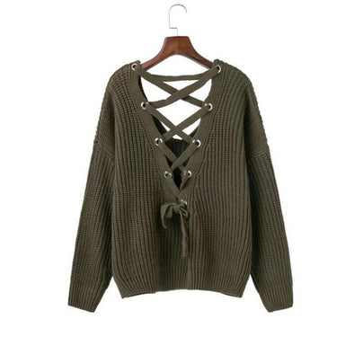 Green Backless Lace Up Sexy Women's Pullover Sweater | TeresaClare