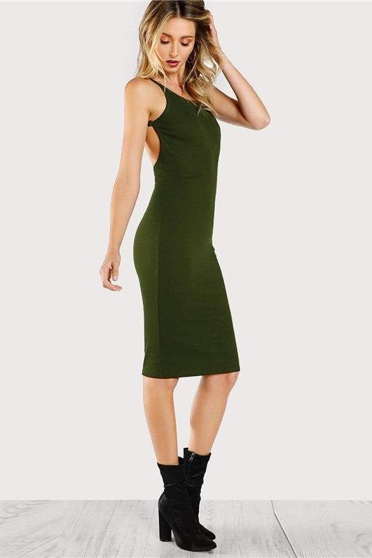 Green Black Sexy Backless Low Back Pencil Fashion Dress | TeresaClare