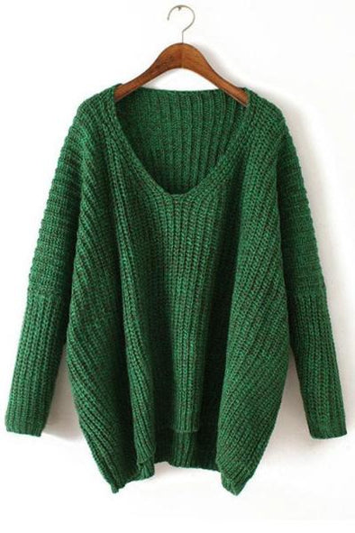 Green Casual Batwing Sleeve V-Neck Sweater For Women | TeresaClare