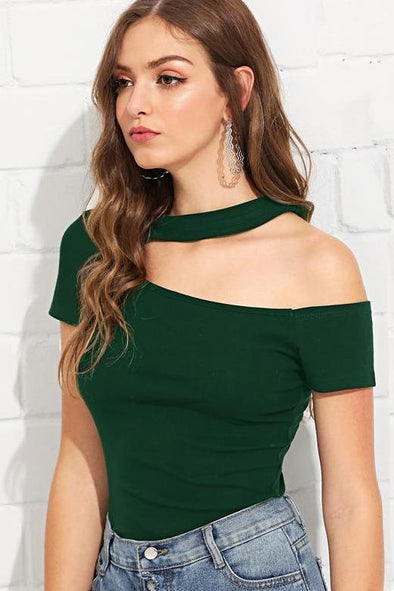 Green Casual Cut Out Cap Sleeve Stretchy T-Shirts | TeresaClare