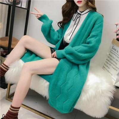 Green Chic Long Solid Artificial Wool Cardigans Lantern Sleeve Sweater | TeresaClare