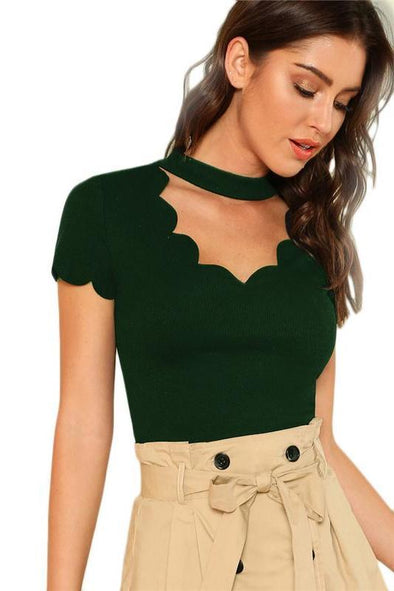 Green Elegant Mock Neck Scallop Trim Tee Cut Out V Collar T-Shirt | TeresaClare