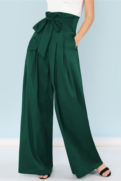 Green Elegant Self Belted Box Pleated Palazzo Pants | TeresaClare
