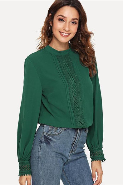 Green Elegant Workwear Mock Neck Lace Trim Blouse | TeresaClare