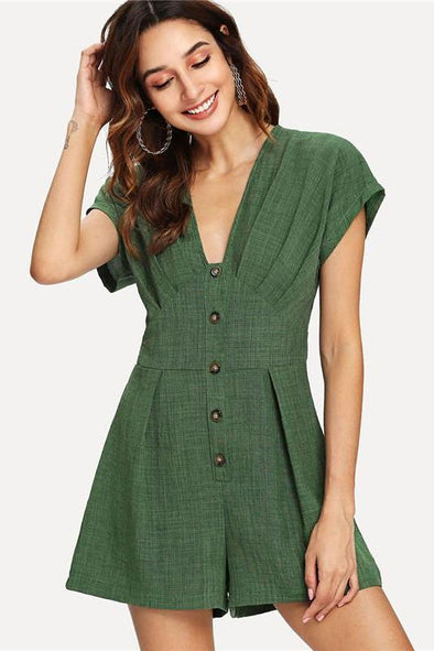 Green Green Deep V Neck Button Cap Sleeve Romper | TeresaClare
