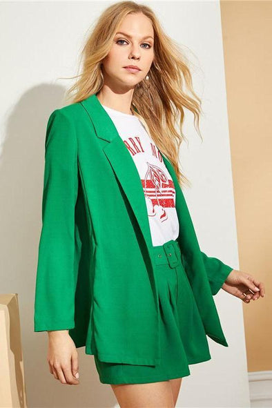 Green Green Long Mid Waist Belted Blazer Two Piece Set | TeresaClare