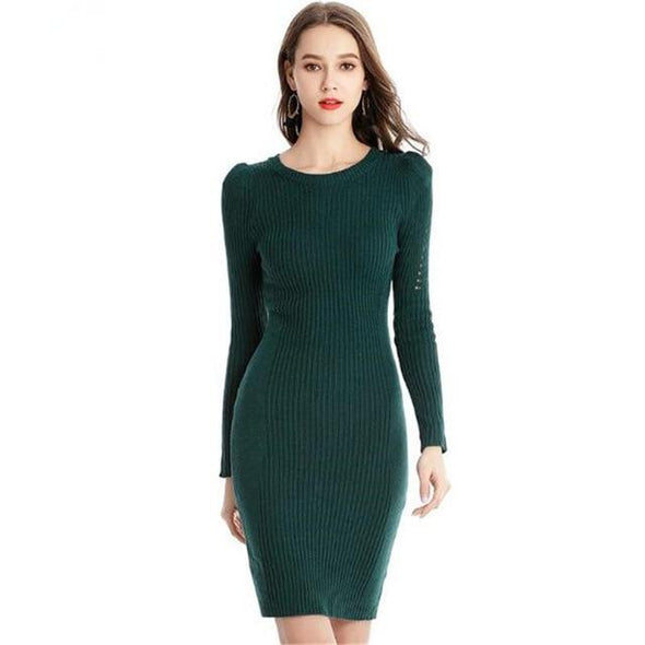 Green Hollow Out Sleeve Knitted Sweater Mini Dress | TeresaClare