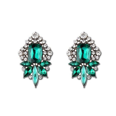 Green Luxury Elegant Crystal Stud Earrings For Women | TeresaClare
