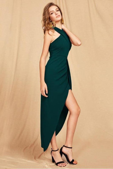 Green Maxi Christmas Halterneck Crisscross Fashion Dress | TeresaClare