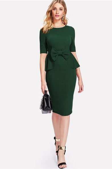 Green Office Highstreet Bow Embellished Peplum Pencil Fashion Dress | TeresaClare