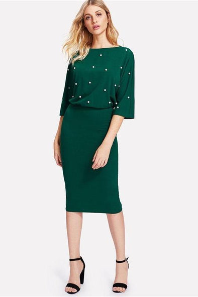 Green Pearl Beading Slit Back Blouson Fashion Dress | TeresaClare