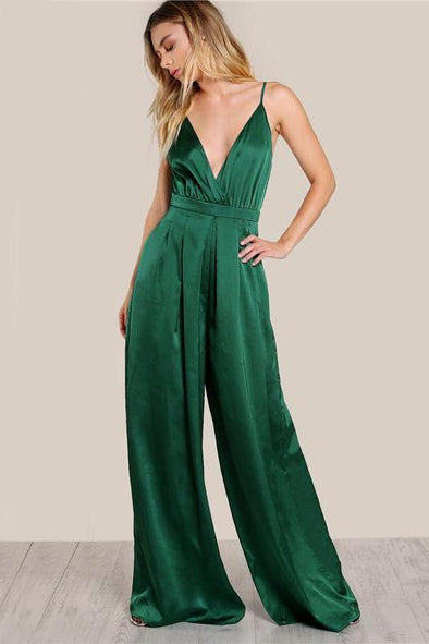 Green Pleated Sexy V Neck Culotte Leg Elegant Jumpsuit | TeresaClare