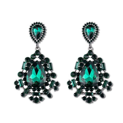 Green Rhinestone Crystal Drop Earring Jewelry | TeresaClare