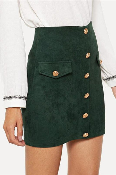 Green Solid Elegant Button Sexy Skirt | TeresaClare